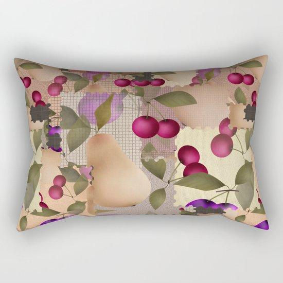 Old scraps of fabric with fruit . Rectangular Pillow