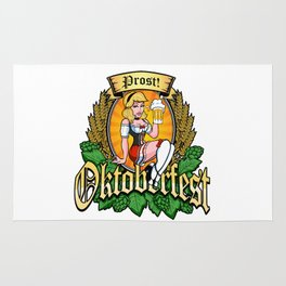 Oktoberfest German Prost Sexy Pin Up Girl Beer Label Rug