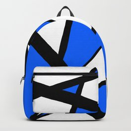 China Blue Geometric Triangle Abstract Inverse Backpack
