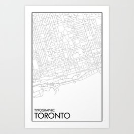 Typographic Toronto (B&W Just Roads Version) Art Print