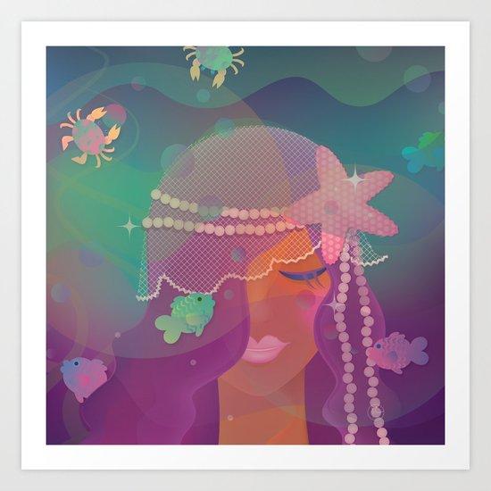 Mermaid II - Bohemian Starfish Hairpiece Art Print