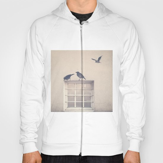 Let me be a bird in your window - vintage retro, beige cream, urban, black and white photography Hoody