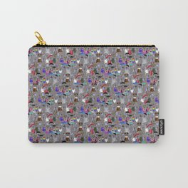 Small Print Dog Weim Nation Grey Ghost Weimaraner Hand-painted Pet Pattern on Blue Carry-All Pouch