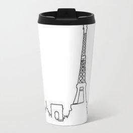 Paris, France Outline (Eiffel Tower, Notre Dame) Travel Mug