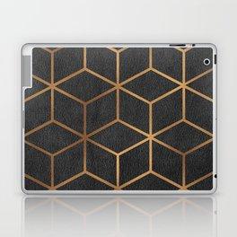 Charcoal and Gold - Geometric Textured Cube Design I Laptop & iPad Skin