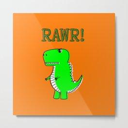 Cute And Angry Cartoon T-Rex Metal Print