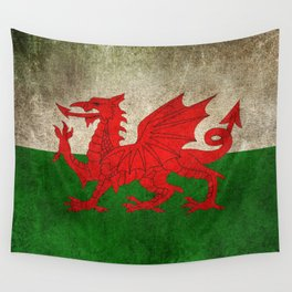Old and Worn Distressed Vintage Flag of Wales Wall Tapestry