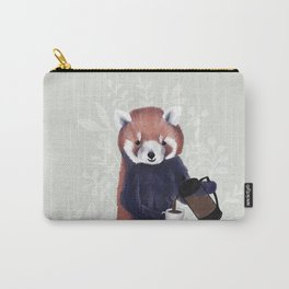 Cute Red Panda and Coffee / French Press and Botanicals Art Print, Green, Orange, Navy  Carry-All Pouch