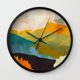 landscape mountains abstract minimal art Wall Clock
