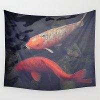 koi fish Wall Tapestries featuring Koi Fish by KunstFabrik_StaticMovement Manu Jobst