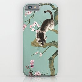 Fortune Cat In Cherry Tree iPhone Case