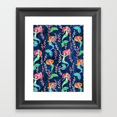 Merry Mermaids in Watercolor Framed Art Print