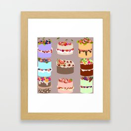 Set of delicious cakes with fruits and berries Framed Art Print