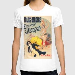 Folies Berg Res Emilienne D Alen On 1900 By Jules Cheret | Reproduction Art Nouveau T-shirt