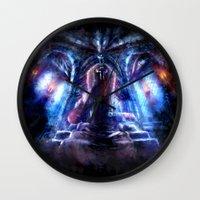 castlevania Wall Clocks featuring Castlevania: Vampire Variations- Dracula by LightningArts