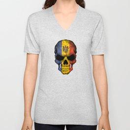 Dark Skull with Flag of Moldova Unisex V-Neck