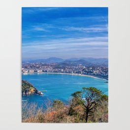 La Concha Bay seen from Igeldo Mount. Poster