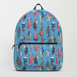 Pink blue lilac watercolor bohemian hand painted feathers Backpack
