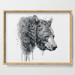 Bear Head Black and White Serving Tray