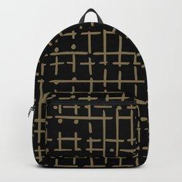 gold line and dot doodle on black Backpack