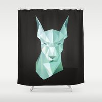 doberman Shower Curtains featuring DobermanVektor by Lucile MacBernik
