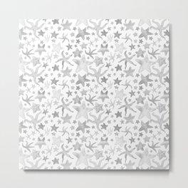 Grey Starfish Pattern - Light Metal Print