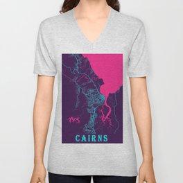 Cairns Neon City Map, Cairns Minimalist City Map Art Print Unisex V-Neck