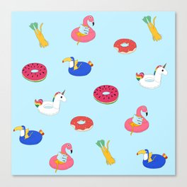 Summer pattern with cats playing in the pool Canvas Print