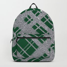 Silver Glitter Plaid on Emerald Green Graphic Design Pattern Backpack
