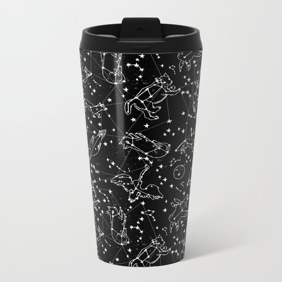 Constellations animal constellations stars outer space night sky pattern by andrea lauren black Metal Travel Mug