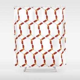 Red Japanese Maple Tree Samara Stitch Looking Pattern In Alternate Orientations Shower Curtain