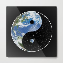 Earth / Space Yin Yang Metal Print