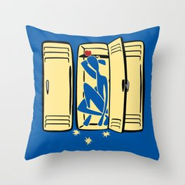 Blue (is shoved in a locker) Throw Pillow