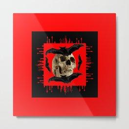 HALLOWEEN BAT INFESTED HAUNTED SKULL RED ART DESIGN Metal Print