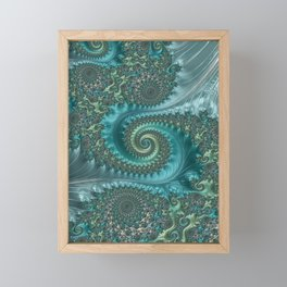 Feathery Flow Aqua - Fractal Art  Framed Mini Art Print