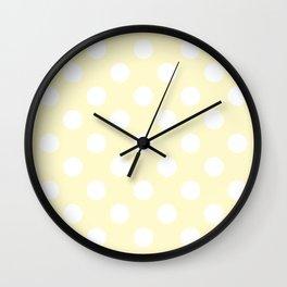 Lemon chiffon - pink - White Polka Dots - Pois Pattern Wall Clock