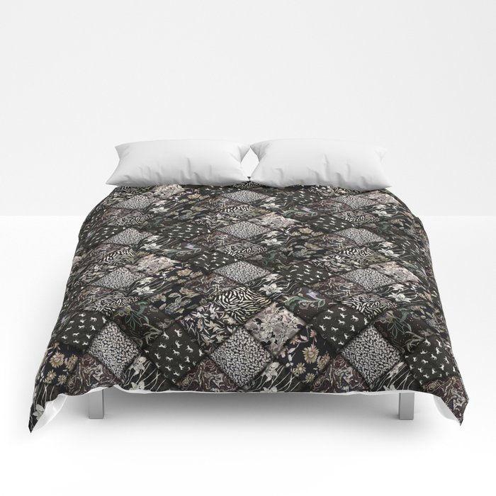 Faux Patchwork Quilting - Black Comforters