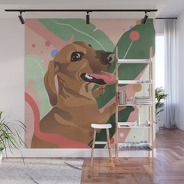 Dachshund puppy with palm leaves in bold colors Wall Mural