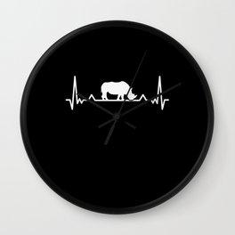 Rhino Heartbeat Save the Rhinoceros Gift Wall Clock
