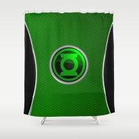green lantern Shower Curtains featuring Green Lantern by Thorin