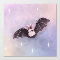 bat Canvas Prints featuring ✞ Bat ✞ by Lili Um