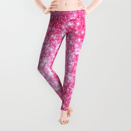 Hot Pink Galaxy Stars Sparkle Leggings