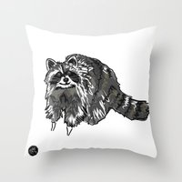 racoon Throw Pillows featuring Racoon by HelloDarlingDesign