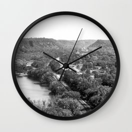 River Bluff Views In Minnesota-Black and White Wall Clock