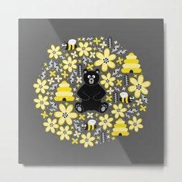 Bear and Bees Metal Print