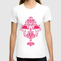 damask T-shirts featuring Flamingo Damask by Jacqueline Maldonado