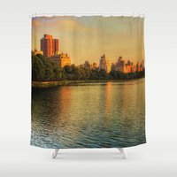 central park Shower Curtains featuring New York Central Park by Esra Meral Demircan