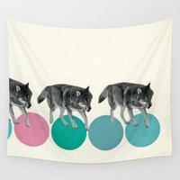 wolves Wall Tapestries featuring Hungry Wolves by Cassia Beck