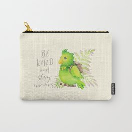 Green Parrot: Be Kind and Stay Curious Carry-All Pouch