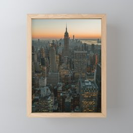 New York Skyline - Manhattan Night Framed Mini Art Print